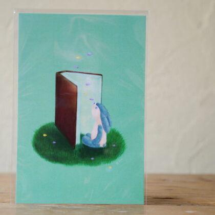 ささき せんさんのうさぎと本のポストカード