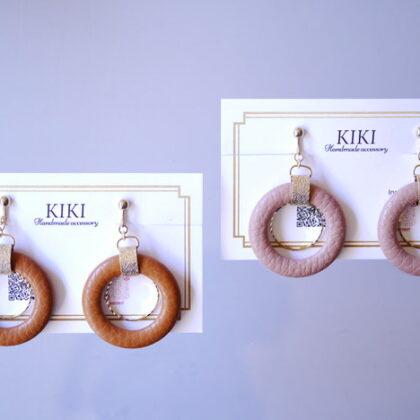 KIKI さんのレザーとメタルリングのイヤリング2種類