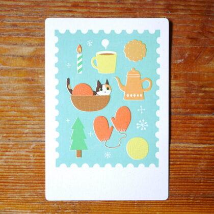 raindropさんの猫とコーヒーのポストカード