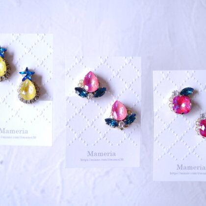 Mameriaさんのスワロフスキーのフルーツイヤリング3種類