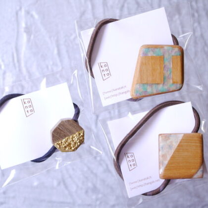 kanataさんの木のぬくもりとおしゃれなニュアンスヘアゴム 3種類